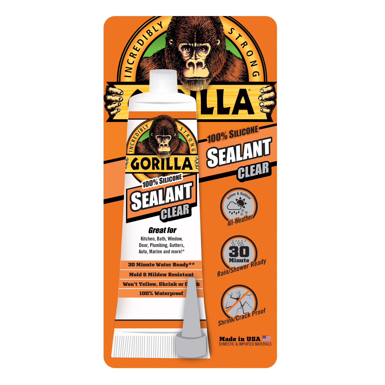 Gorilla 100% Silicone Sealant, 2.8oz Clear