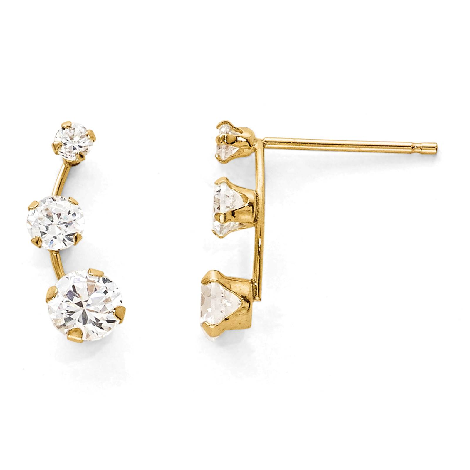 Madi K Kids 14k Yellow Gold Polished Curved 3 Stone CZ Post Earrings