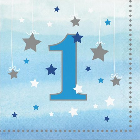 Creative Converting One Little Star Boy 1st Birthday Napkins, 16 ct (Little Boy Birthday Party Themes)