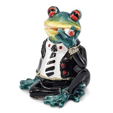 Bejeweled Frog - Bejeweled Smoking Frog Trinket Box