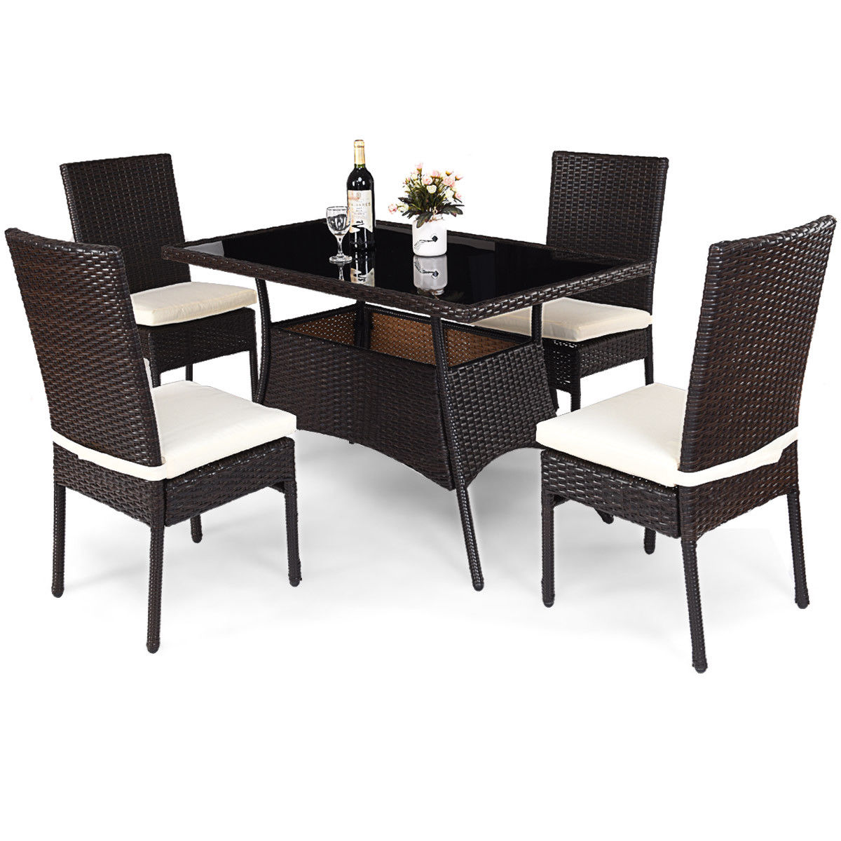 Click here to buy Costway 5 Piece Outdoor Patio Furniture Rattan Dining Table Cushioned Chairs Set by Costway.