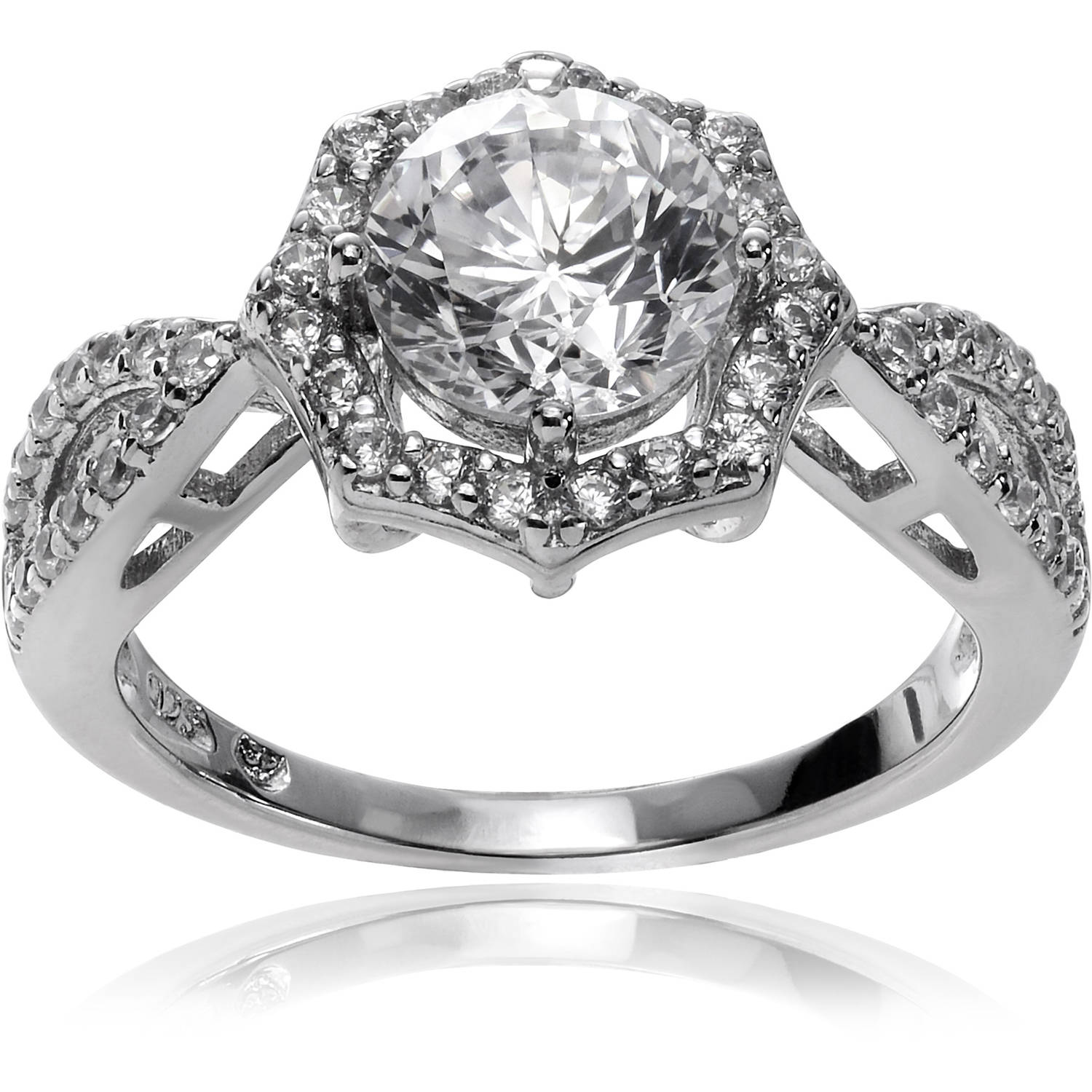 Alexandria Collection Women's Round-Cut CZ Rhodium-Plated Sterling Silver Halo Engagement Ring