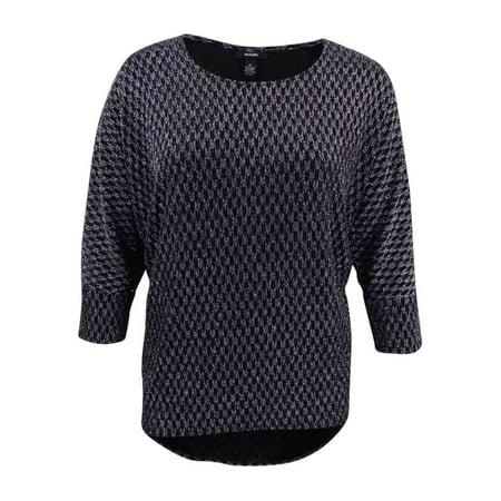 Alfani Women's Dolman Sleeve Metallic Top (XL, Geo Lurex Silver)