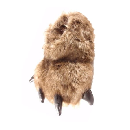 7cb569e358eb Claw - Boys Fuzzy Brown Grizzly Bear Paw Claw Slippers Faux Fur House Shoes  - Walmart.com