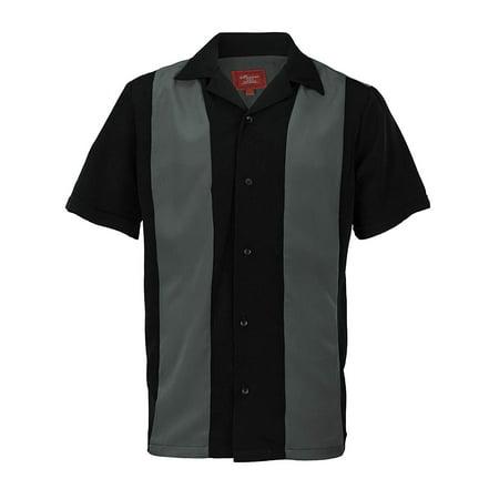 Ginoken Men's Two Tone Panel Retro 50s Bowling Casual Dress Short Sleeve Shirt Dark Grey Black