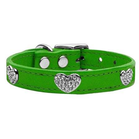 Crystal Heart Genuine Leather Dog Collar Emerald Green 10