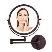 Ovente Wall Mounted Vanity Makeup Mirror 8.5 Inch with 10X Magnification and LED Light, 360 Degree Swivel Rotation with Distortion Free View, 4 AAA Batteries Operated, Antique Bronze (MFW85ABZ1X10X)