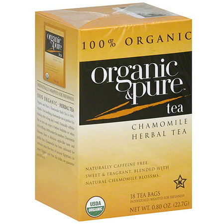 Organic & Pure Chamomile Herbal Tea, 18BG (Pack of 6)