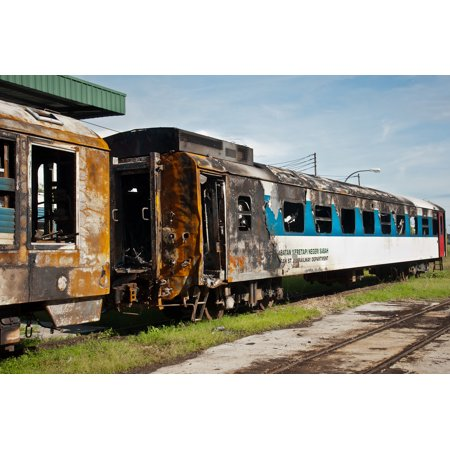 Canvas Print Destroyed cars of Sabah State Railways after the collision with a tank truck, November 1, 2011, Phot Stretched Canvas 10 x 14