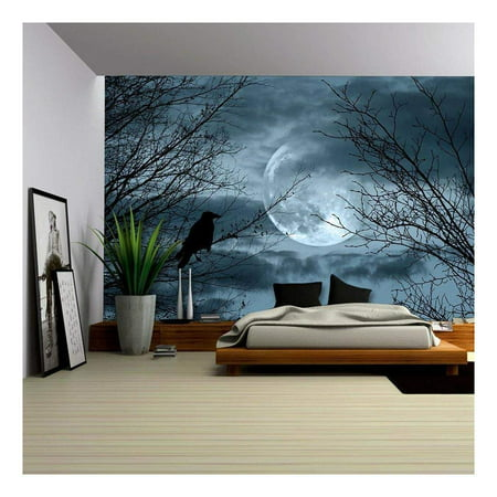 wall26 - Halloween Background with Spooky Forest and Full Moon - Removable Wall Mural | Self-Adhesive Large Wallpaper - 100x144 inches - Evil Halloween Wallpaper