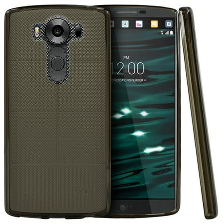 LG V10 Case, RED SHIELD [Smoke] Slim & Flexible Anti-shock Crystal Silicone Protective [Non-Slip] TPU Gel Skin Case Cover for LG V10 (2015) (Non Slip Protective Skin)