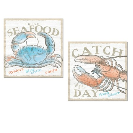 Nautical Fresh Seafood Blue Crab and Catch Of The Day Red Lobster Set by Sue Schlabach; Coastal Decor; Two 12x12in Unframed Paper