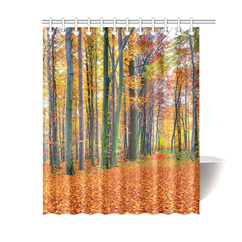 GCKG Autumn Landscape Shower Curtain Yellow Red Leaves Forest Polyester Fabric Bathroom Sets 60x72 Inches