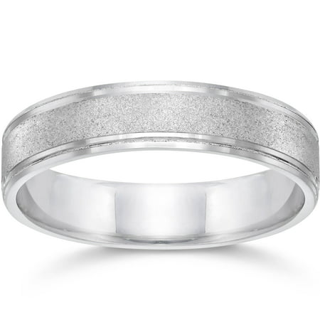 Brushed Wedding Band 5mm 10K White Gold - image 1 de 1