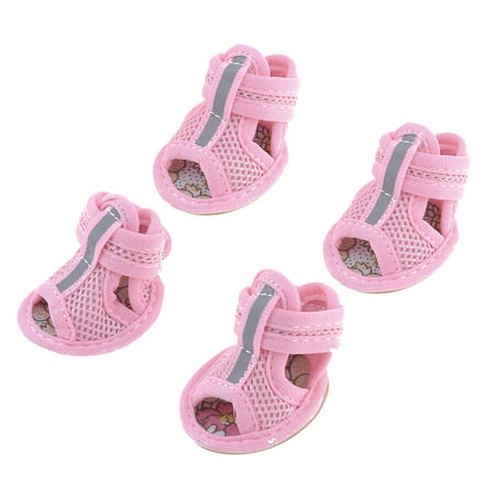 2 Pairs Rubber Sole Pink Mesh Sandals Yorkie Chihuaha Dog Shoes Size (Yorkie Pin)