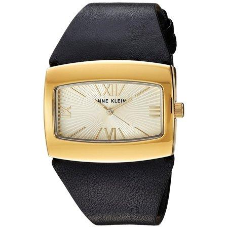 57a89fd48 Anne Klein - Women's AK/2632CHBK Gold-Tone and Black Leather Strap ...