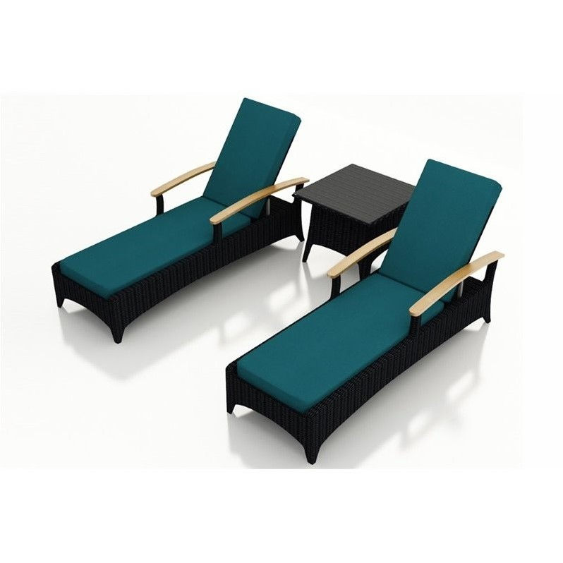 Harmonia Living Arbor 3 Piece Patio Lounge Set in Peacock