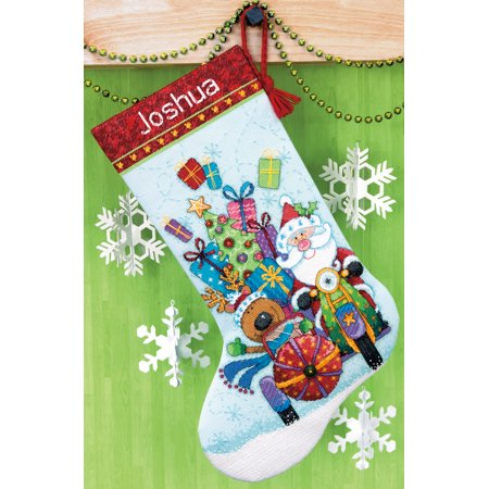 Sidecar Cover - Dimensions Santa's Sidecar Stocking Counted Cross Stitch Kit, 13