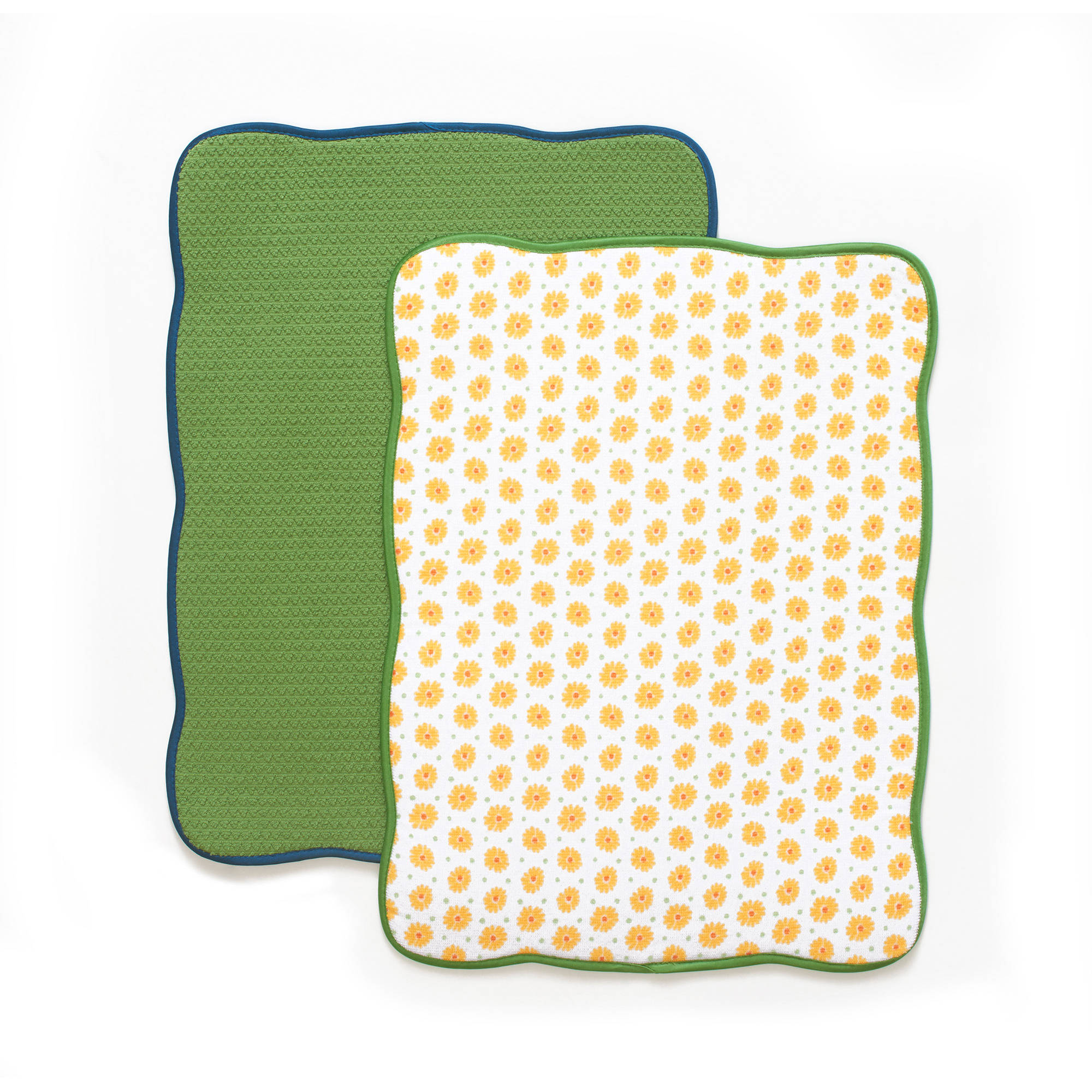 The Pioneer Woman Bright Daisy Reversible Dish Drying Mat, 2pk