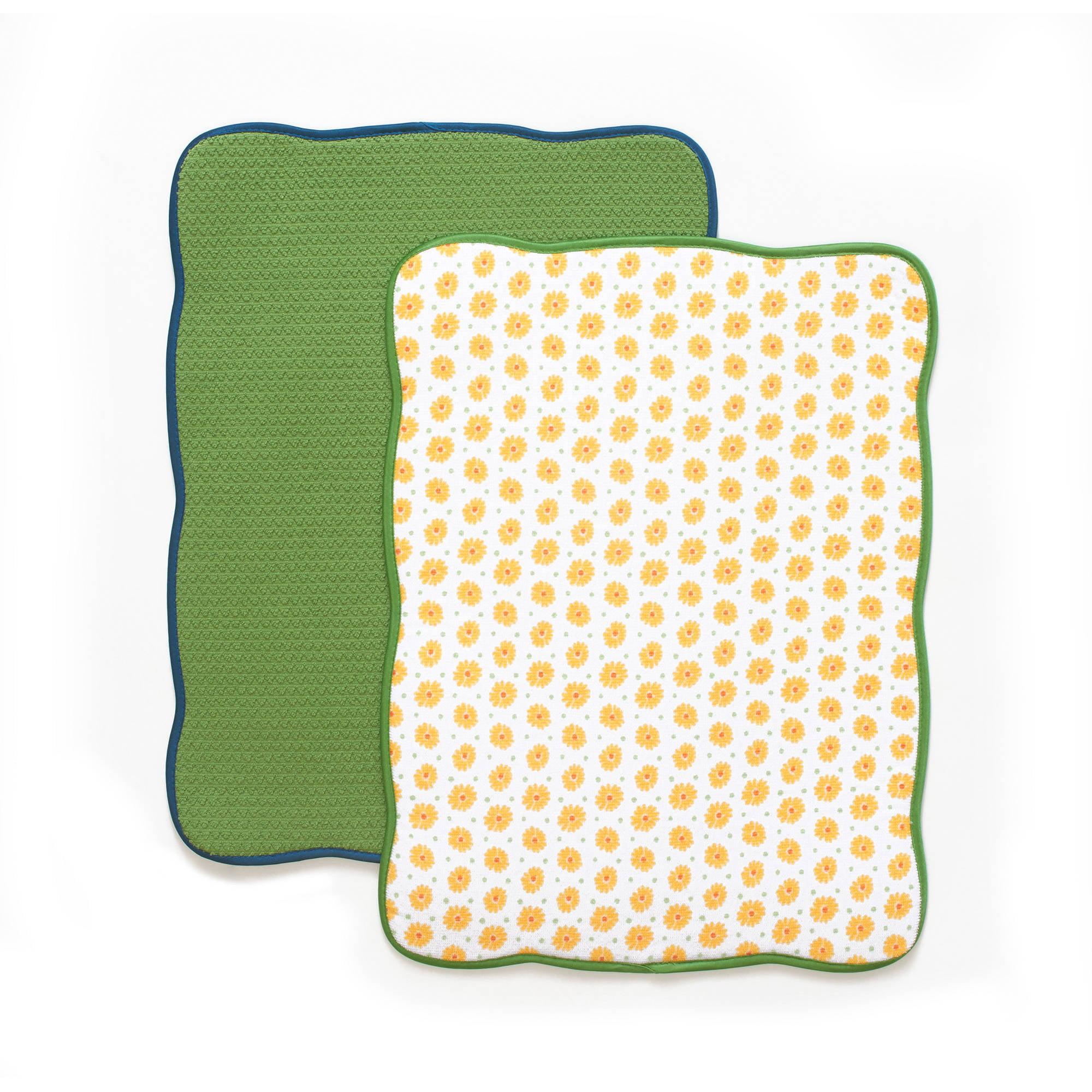 The Pioneer Woman Bright Daisy Reversible Dish Drying Mat, 2pk