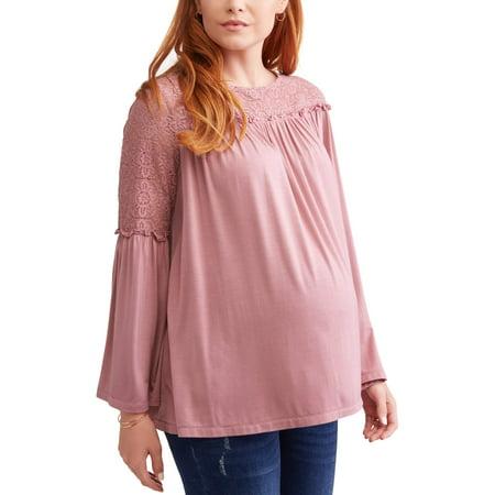 Metallic Lace Ruffle Top (Maternity Bell Sleeve Lace Yoke Ruffle Top)