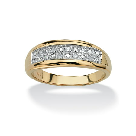 Men's 1/8 TCW Pave Diamond Wedding Band in 18k Gold over Sterling Silver (Wedding Bands For Men Diamond)