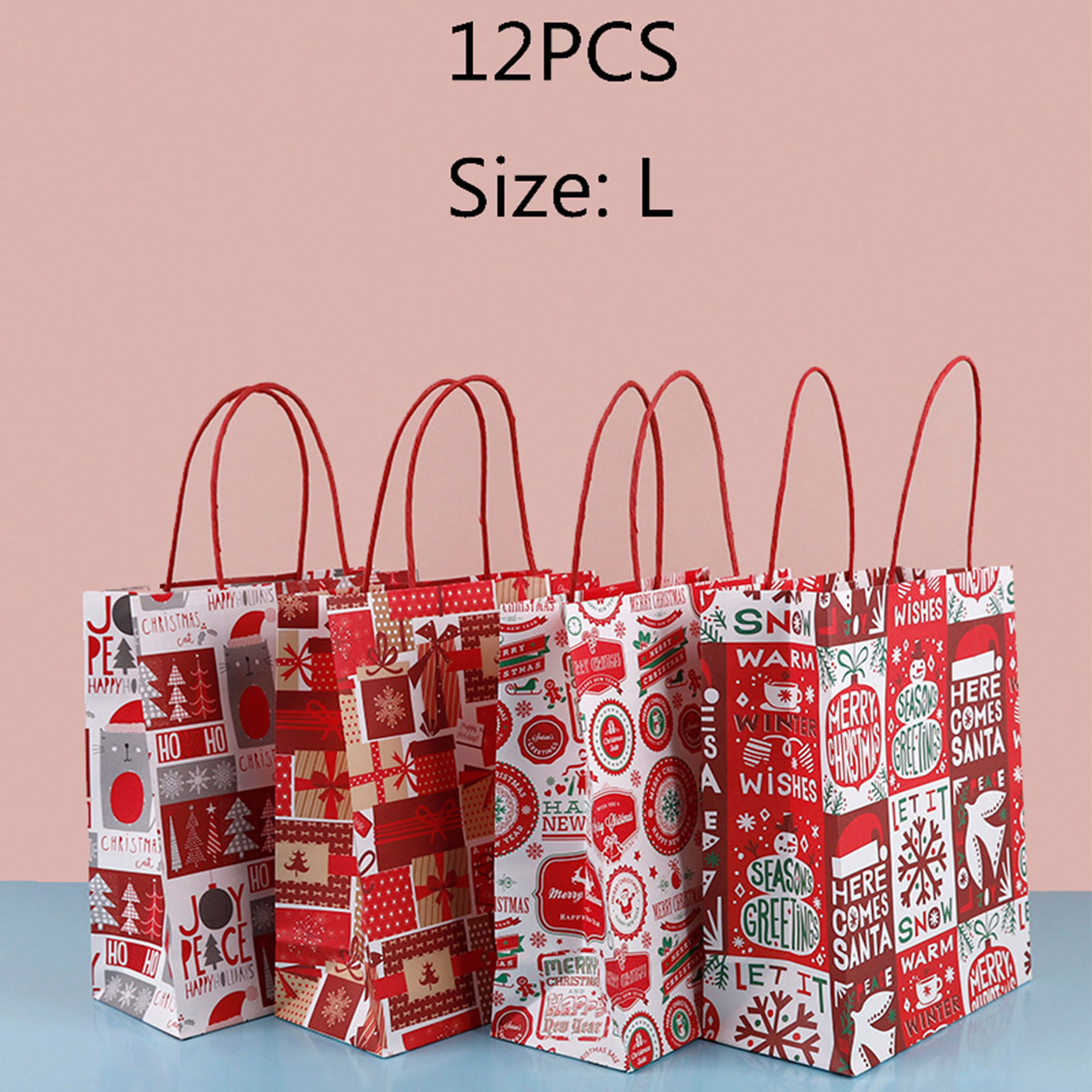 Bags Baking Bags Snack Candy New Paper Paper Bag Of Christmas 12 Kraft Sets Gift