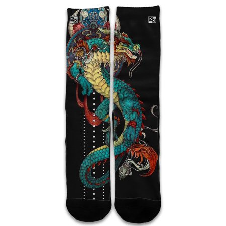 Custom Elite Style Athletic Sport Socks Crew 18 Inch / Dragon Japanese Style