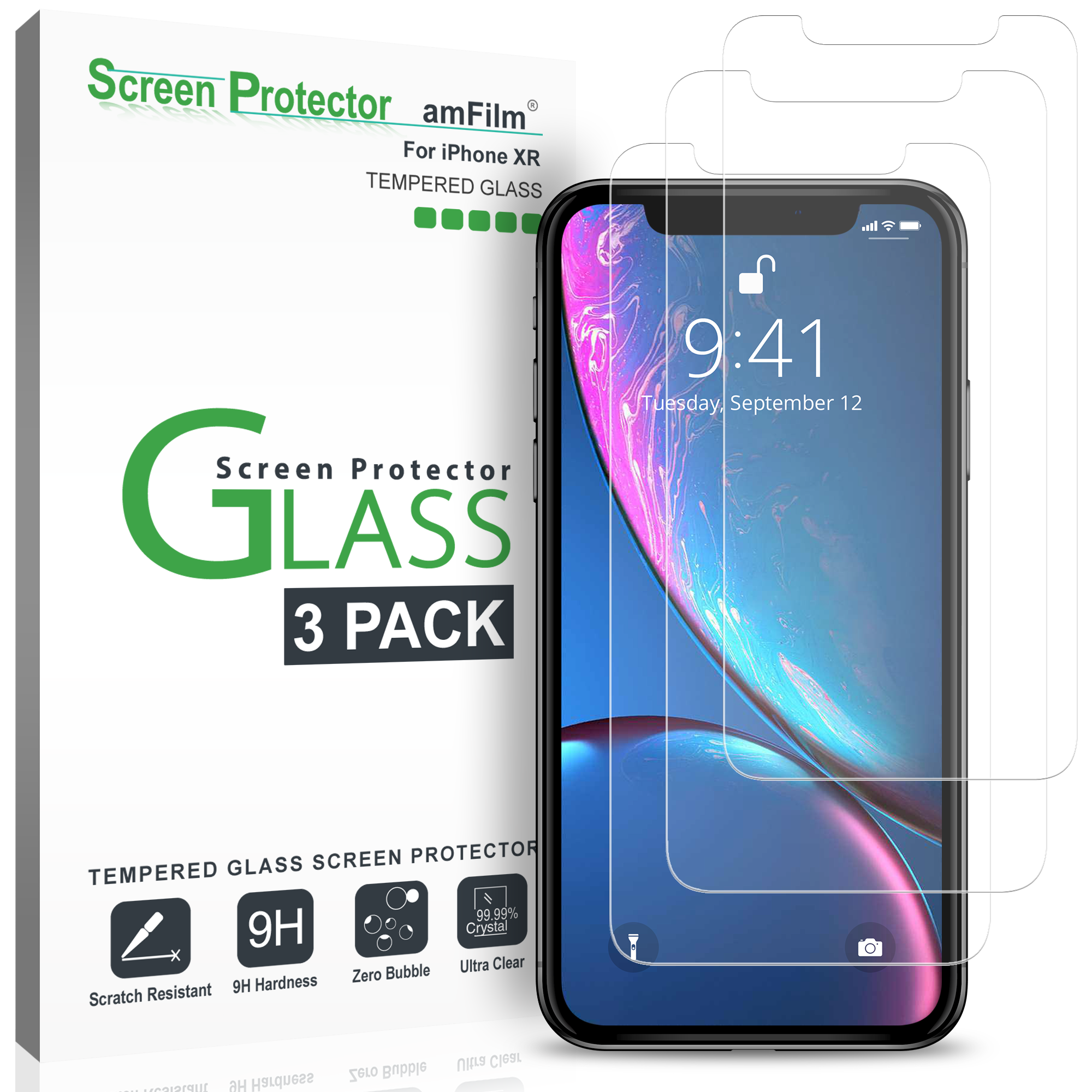 amFilm iPhone XR Tempered Glass Screen Protector with Easy Installation Tray for Apple iPhone XR (3 Pack)