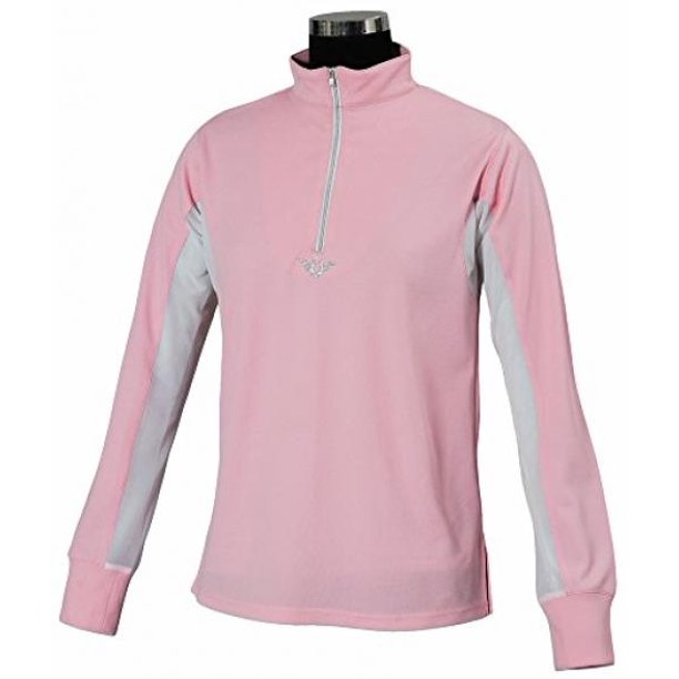 TuffRider Women's Ventilated Technical Long Sleeve Sport Shirt with Mesh, Petal Pink, 3X