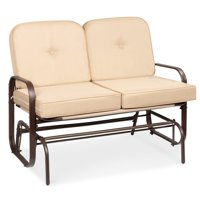Best Choice Products 2-Person Outdoor Patio Glider Loveseat Rocking Chair w/ UV-Resistant Cushions - Beige