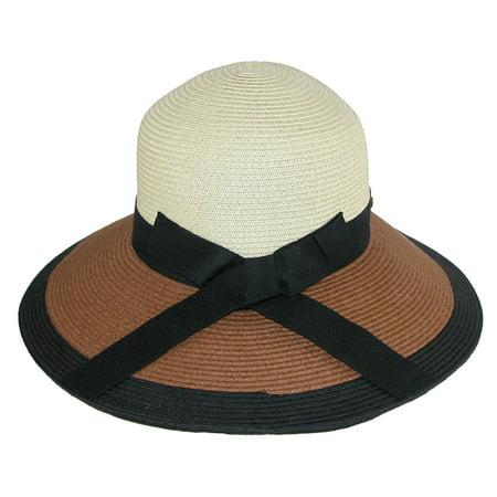78d793de Sun N Sand Women's Paper Braid Color Block Sun Hat with Black Ribbon -  image 1 ...