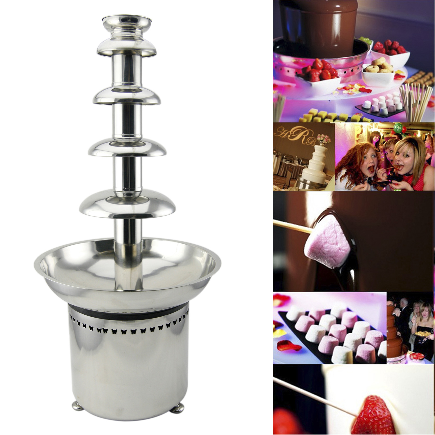 CO-Z 27' 5-Tier Stainless Steel Chocolate Fondue Fountain LARGE for Big Wedding Party Hotel by