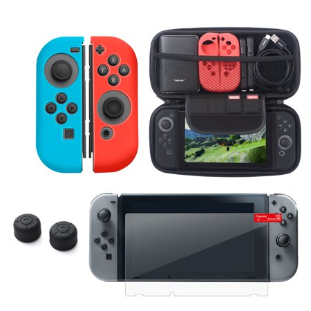 Nintendo Switch 5-in-1 Accessories Bundle Kit, by Insten Carrying Travel Hard EVA Case + Joy-Con Controller Skin [Left/Right] + Clear Protector + 1-pair Thumb Grip Caps for Nintendo -