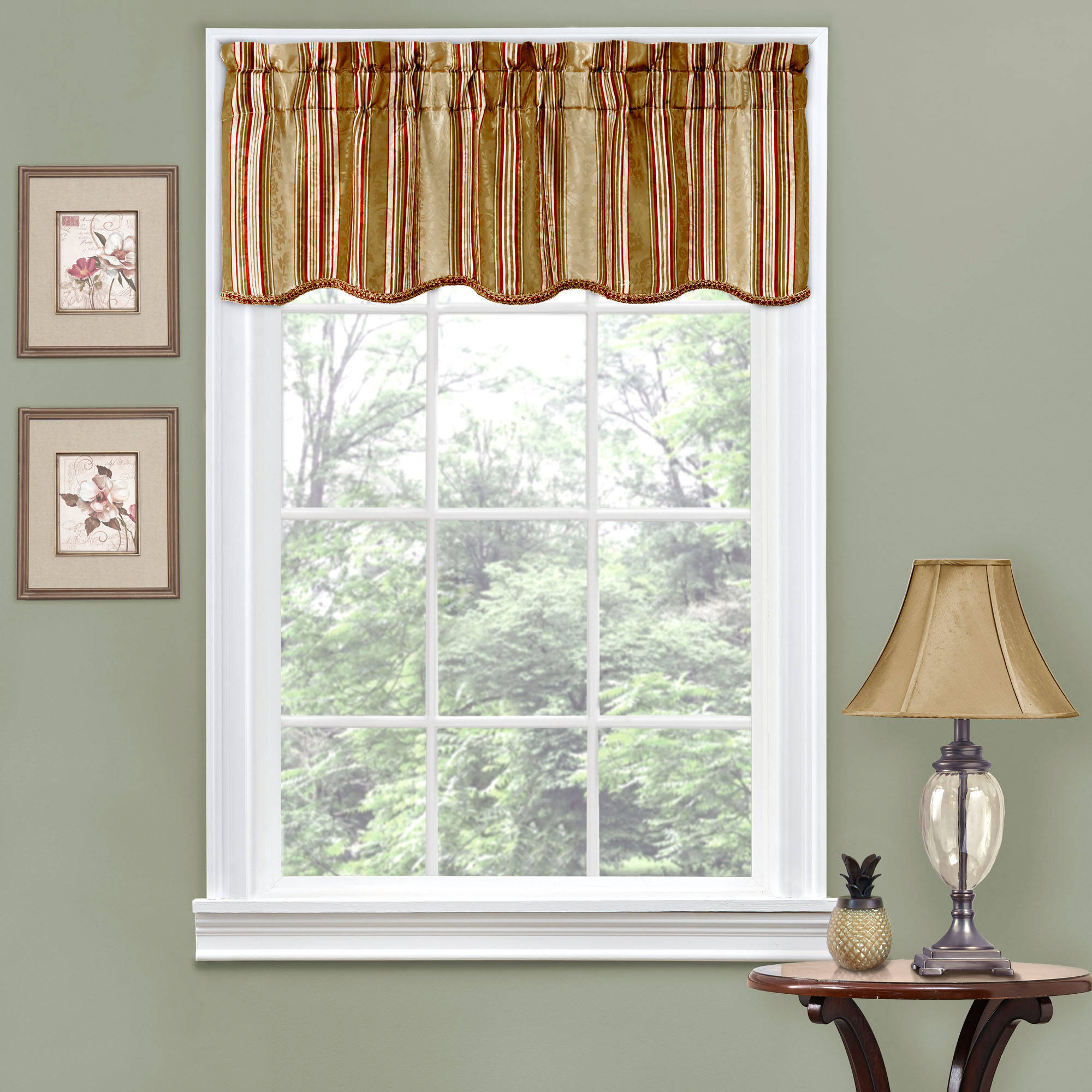 Valances Window Treatments Traditions by Waverly Stripe Ensemble Scalloped Window Curtain Valance -  Walmart.com
