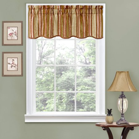 Traditions by Waverly Stripe Ensemble Scalloped Window Curtain Valance
