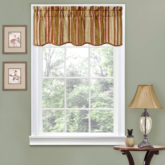 Scalloped Valances For Windows : Traditions by waverly stripe ensemble scalloped window
