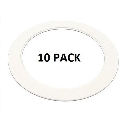 10 Pack-White Light Trim Ring Recessed Can 6\