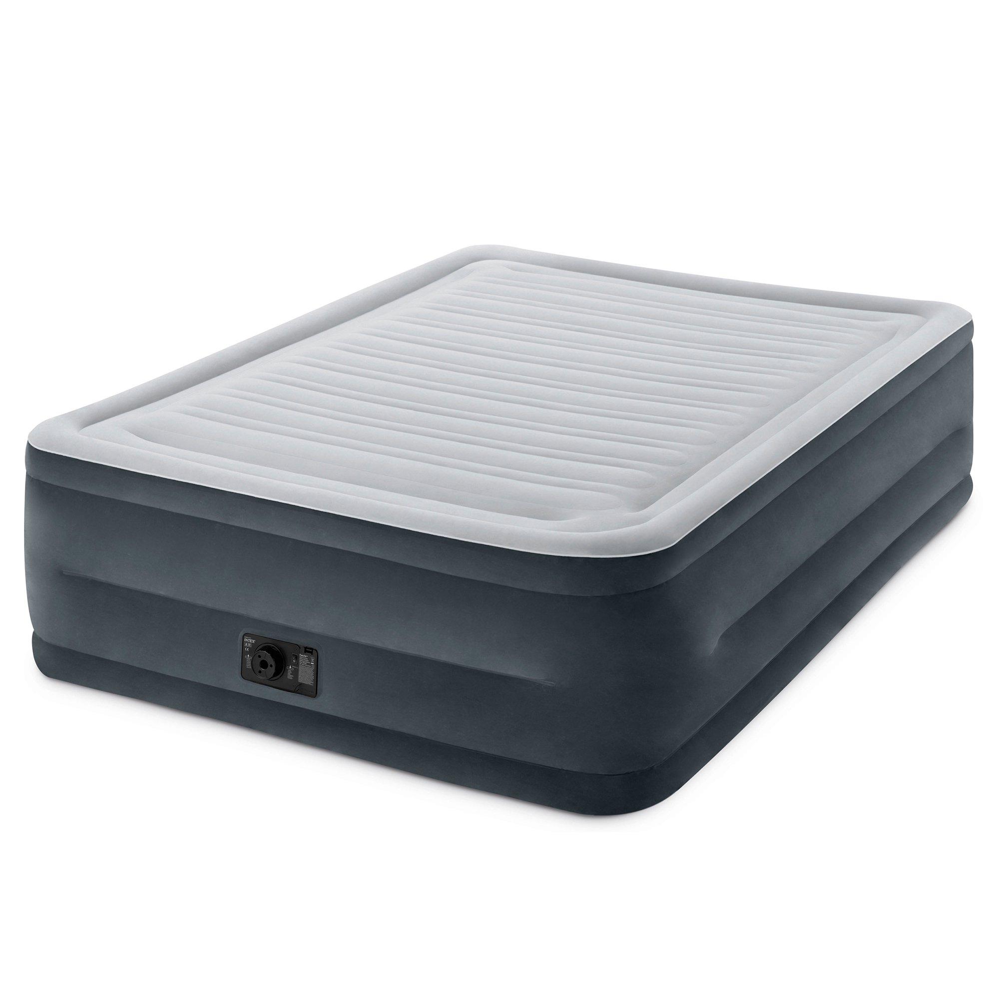 Intex Comfort Plush High Rise Dura-Beam Air Bed Mattress w  Built-In Pump, Queen by Intex