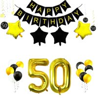 35 Pcs 50th Birthday Decorations Set,42 Inch Gold Foil Number 50 Balloons with Birthday Banner Hanging Swirls Latex Balloon for 50th Birthday Party Supplies