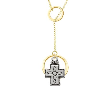 Large Southwestern Antiqued Cross Gold Tone Double Karma Lariat Necklace