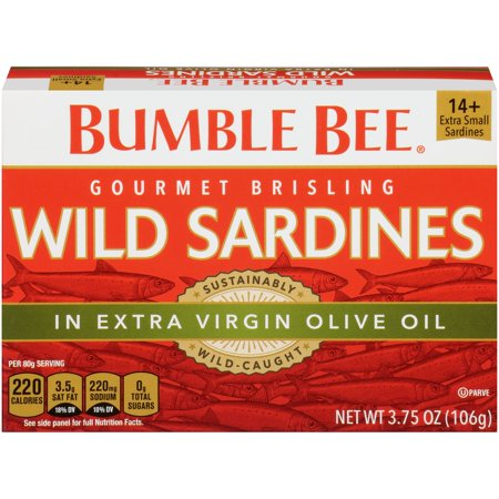 (3 Pack) Bumble Bee Brisling Wild Sardines in Extra Virgin Olive Oil, Gluten Free Food, High Protein Snacks, 3.75oz can ()