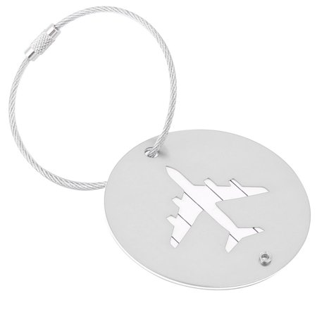 Airport Travel - Travel Aluminium Alloy Round Shaped Airport Luggage Handbag Name Tag Silver Tone