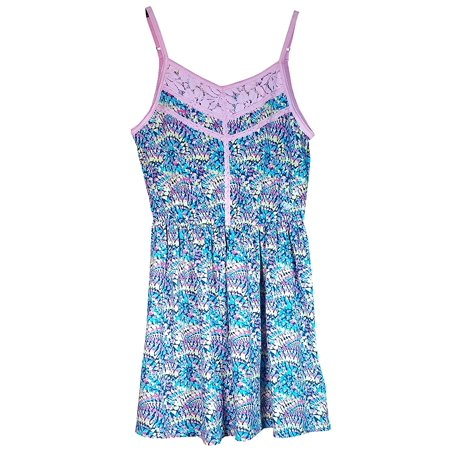 Roxy Girls Ethereal Blue and Pink Lace Sun Dress Size 10-12 - Cute Dresses For Girls 10-12