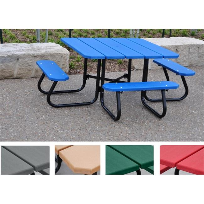Jayhawk PB 4GRASQPIC Square Picnic Table, Green 4 ft. by Jayhawks