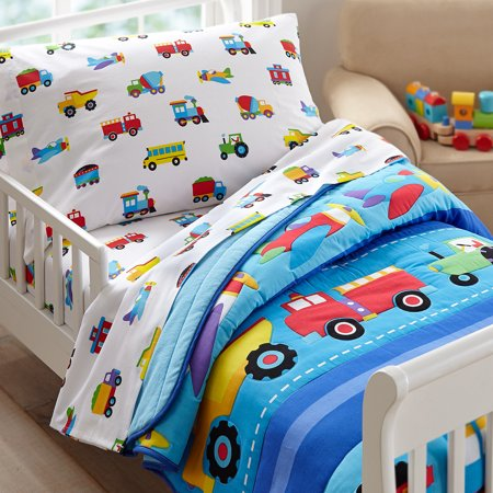 Olive Kids Trains Planes Trucks Toddler Bedding Sheet