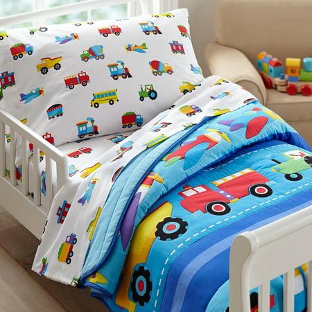 Olive Kids Trains Planes Trucks Toddler Bedding Sheet