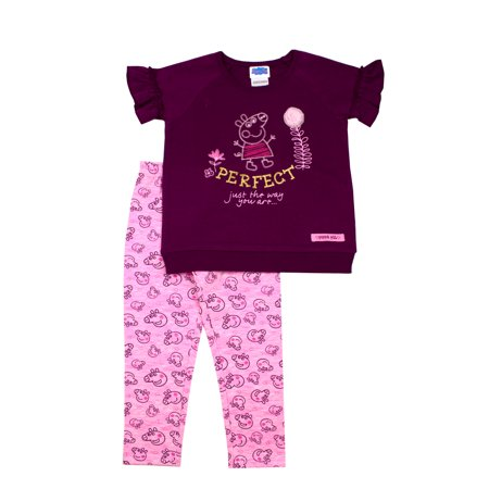 Peppa Pig French (Peppa Pig Short Sleeve Ruffle French Terry Top and Printed Leggings, 2pc Outfit Set (Toddler)