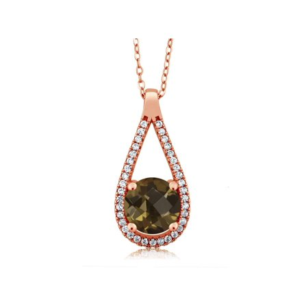 1.86 Ct Round Green Prasiolite 18K Rose Gold Plated Silver Pendant (Rose Gold Settings)