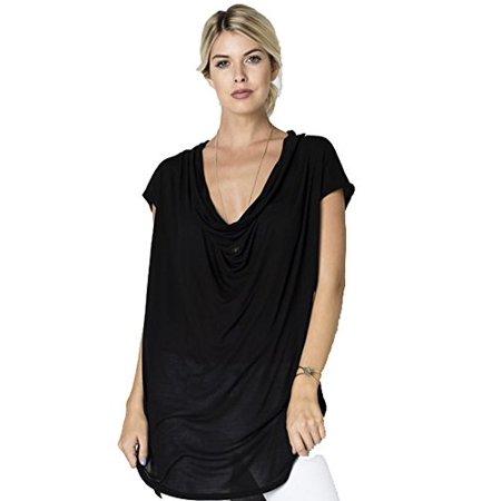 Fashion Secrets Women Cap Sleeve Cowl Neck Tunic Top . (Large, Black) Black Cap Sleeve Top
